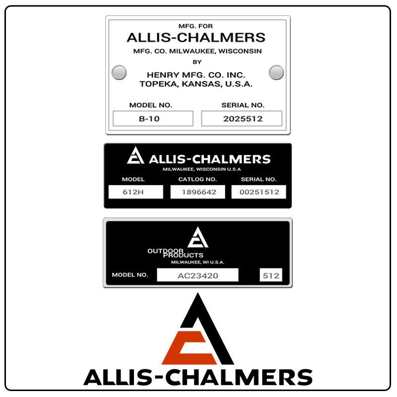 examples of what Allis-Chalmers model tags usually look like and a large Allis-Chalmers logo