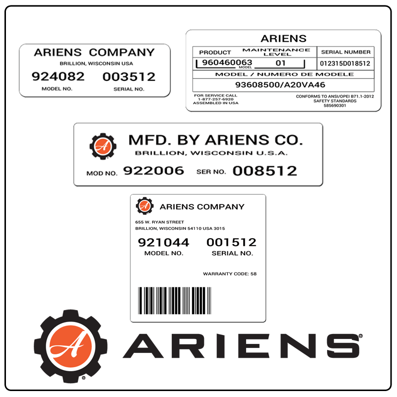 examples of what Ariens model tags usually look like and a large Ariens logo