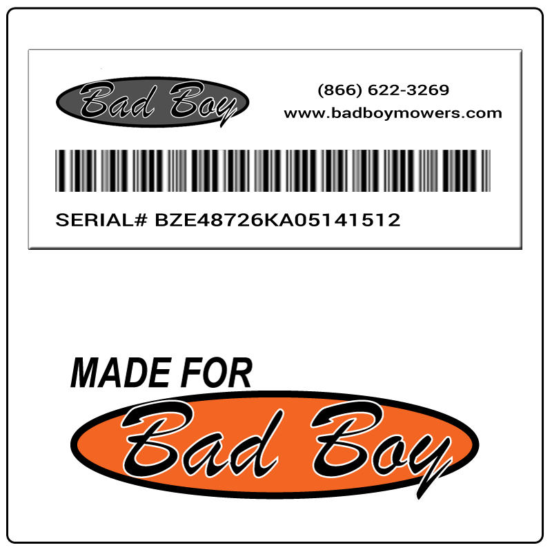 examples of what Bad Boy model tags usually look like and a large Bad Boy logo