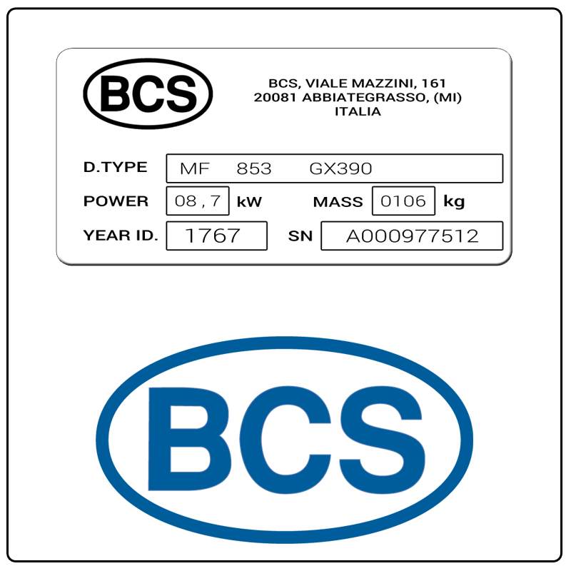 examples of what BCS America model tags usually look like and a large BCS America logo