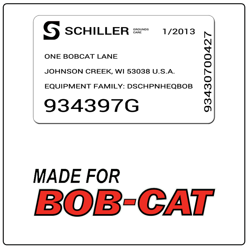 examples of what Bobcat model tags usually look like and a large Bobcat logo