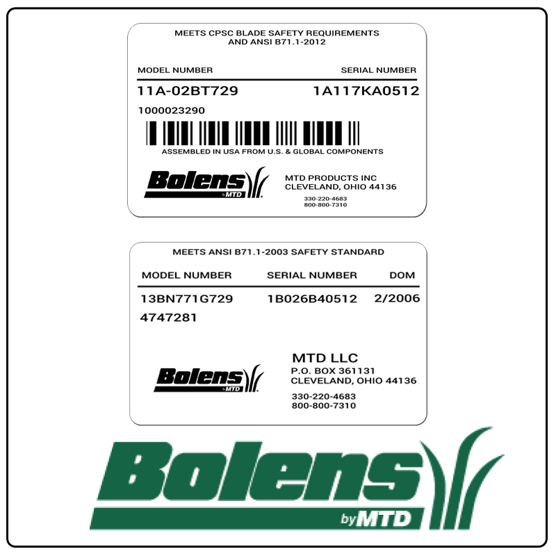 examples of what Bolens model tags usually look like and a large Bolens logo