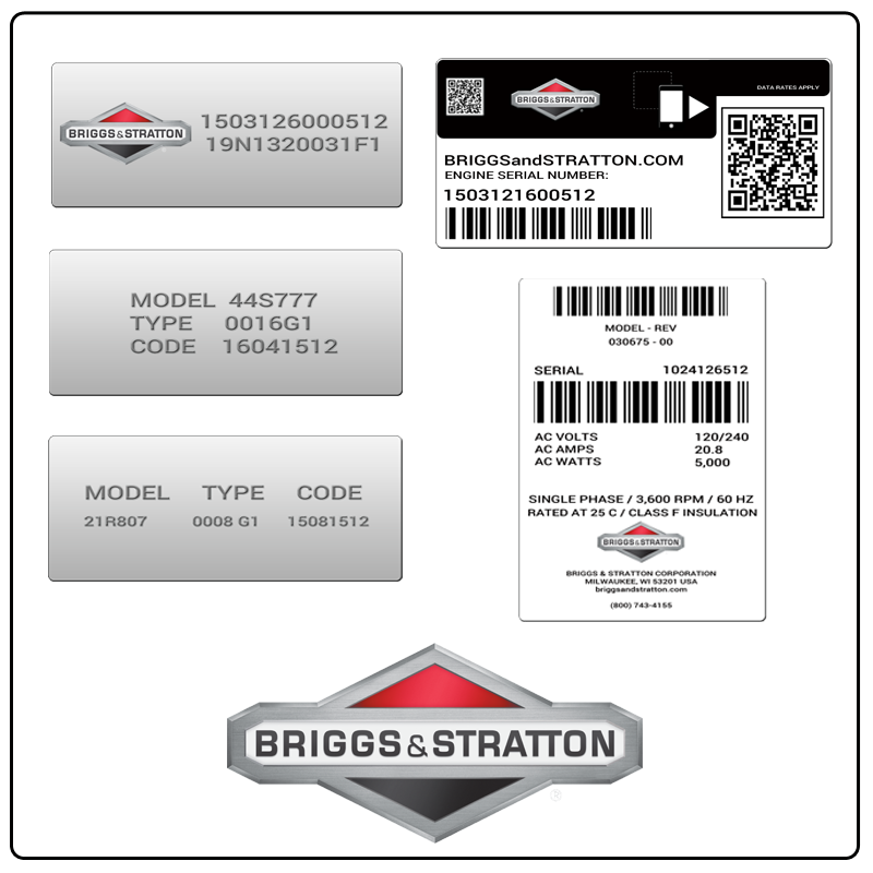 examples of what Briggs & Stratton model tags usually look like and a large Briggs & Stratton logo