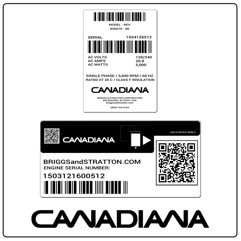 examples of what Canadiana model tags usually look like and a large Canadiana logo