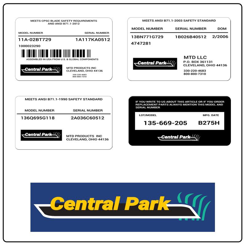 examples of what Central Park model tags usually look like and a large Central Park logo
