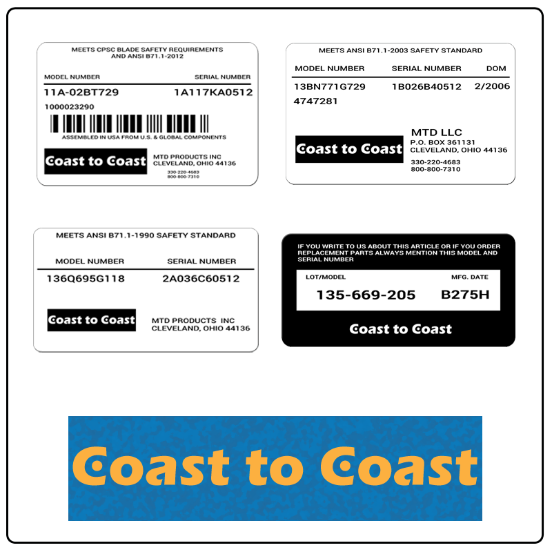 examples of what Coast to Coast model tags usually look like and a large Coast to Coast logo