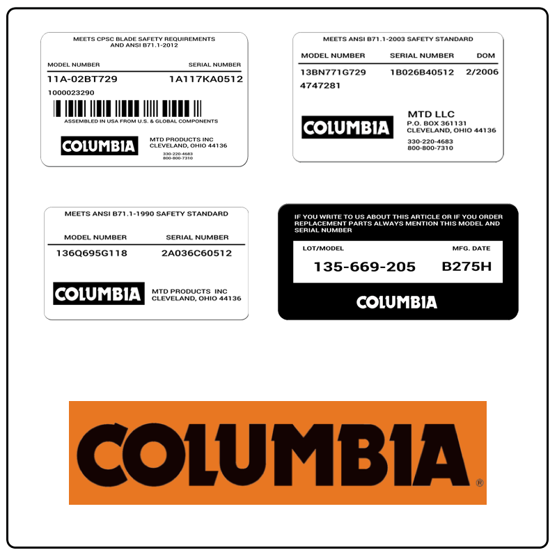 examples of what Columbia model tags usually look like and a large Columbia logo