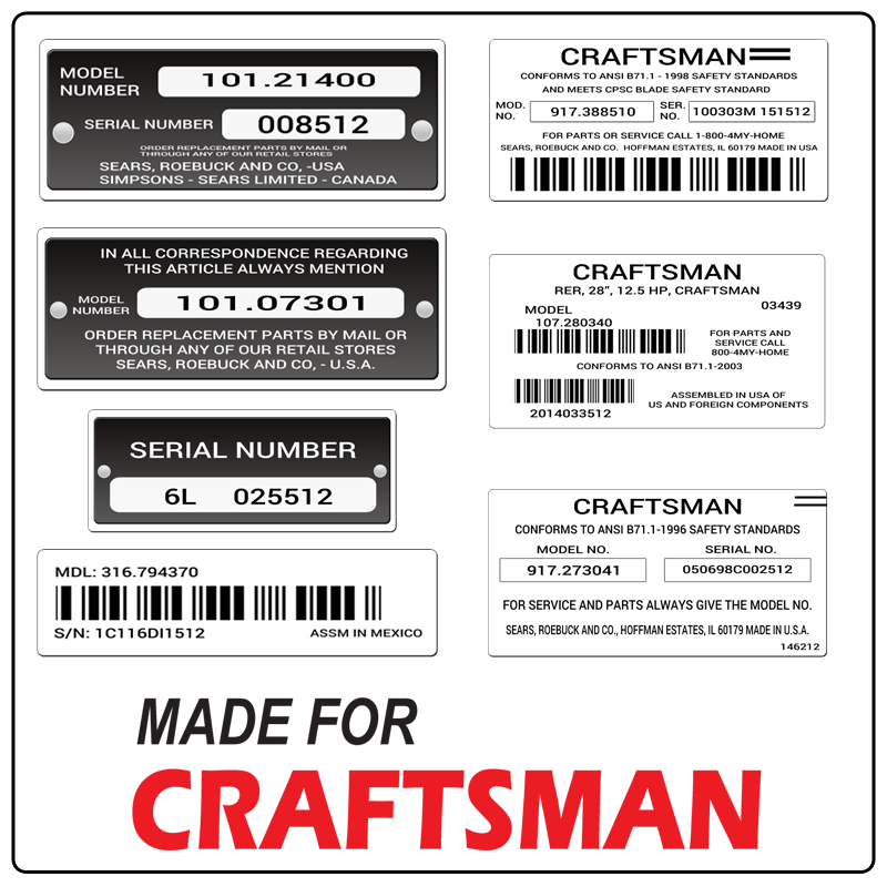 examples of what Craftsman model tags usually look like and a large Craftsman logo