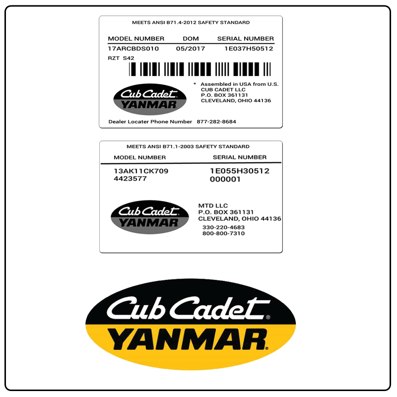 examples of what Cub Cadet Yanmar model tags usually look like and a large Cub Cadet Yanmar logo