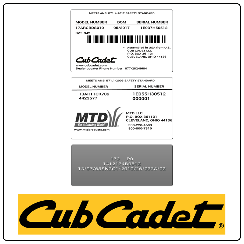 examples of what Cub Cadet model tags usually look like and a large Cub Cadet logo