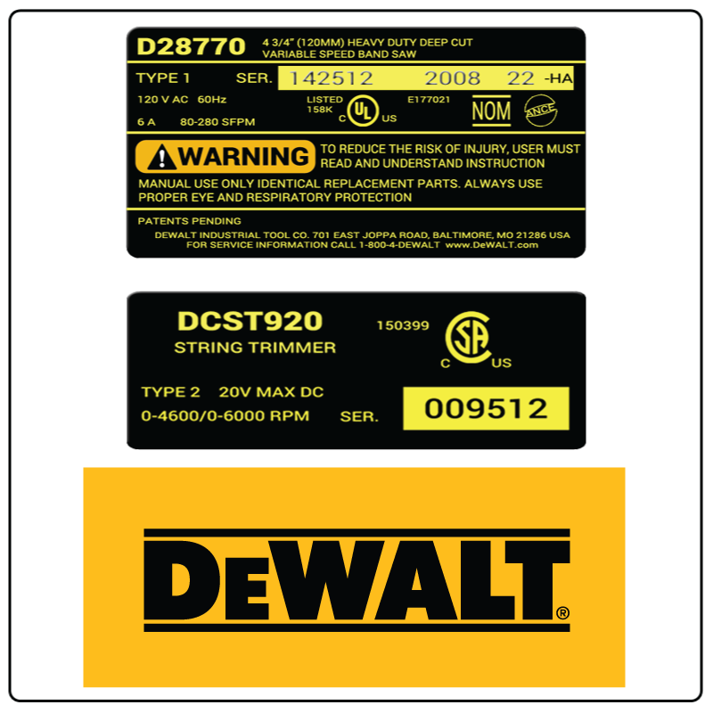 examples of what Dewalt model tags usually look like and a large Dewalt logo