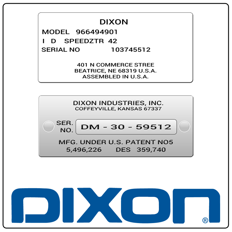 examples of what Dixon model tags usually look like and a large Dixon logo