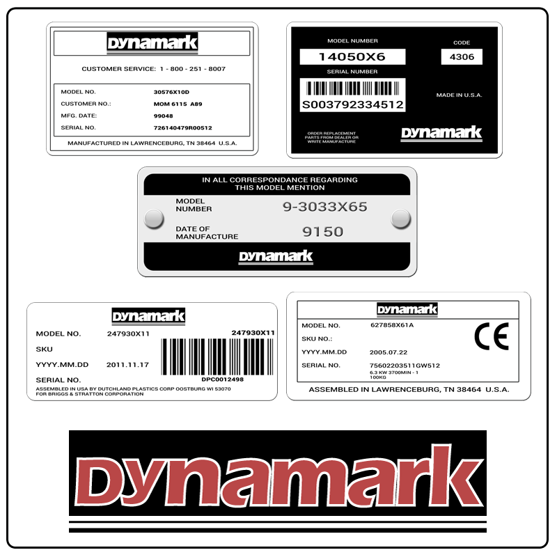 examples of what Dynamark model tags usually look like and a large Dynamark logo
