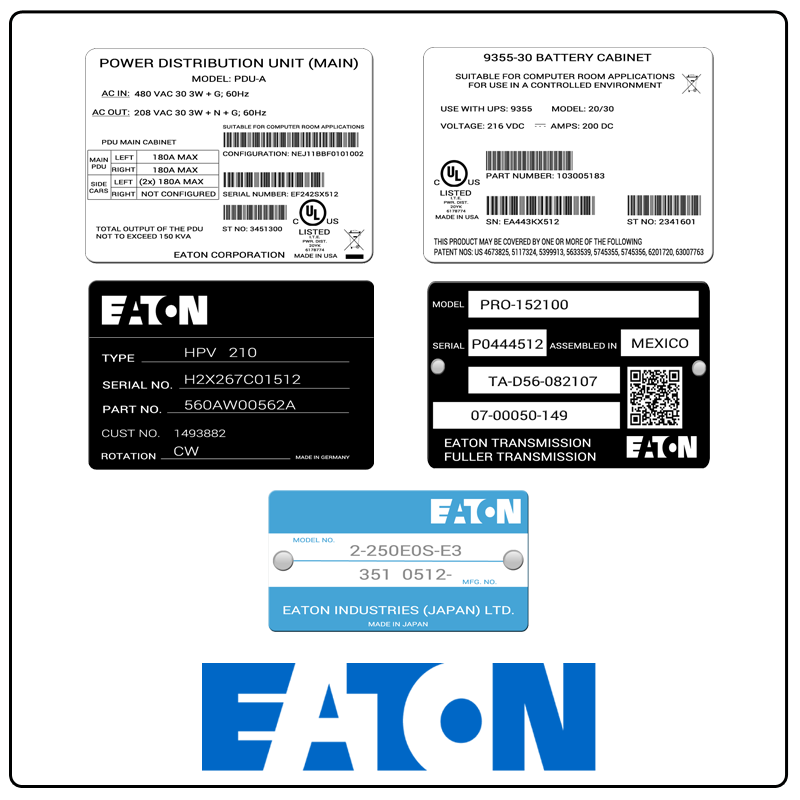 examples of what Eaton model tags usually look like and a large Eaton logo