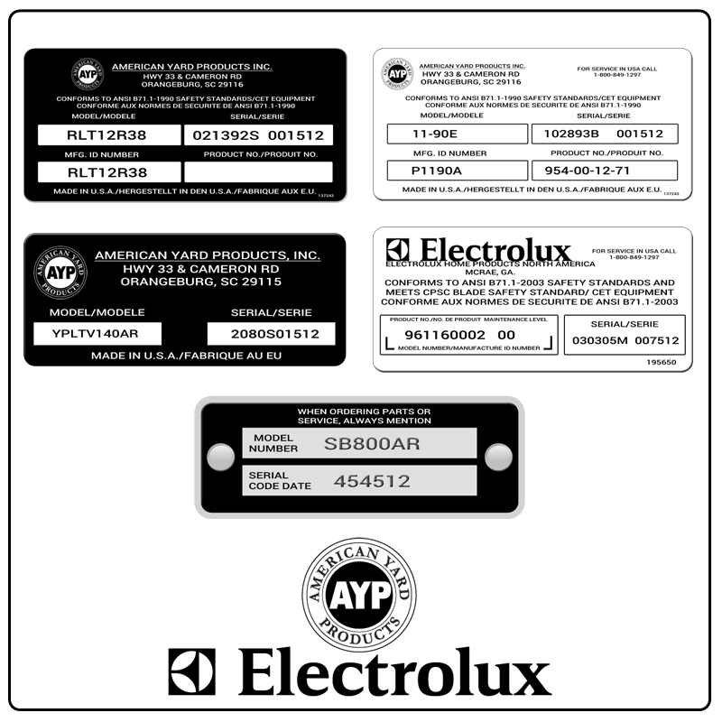 examples of what Electrolux/AYP model tags usually look like and a large Electrolux/AYP logo