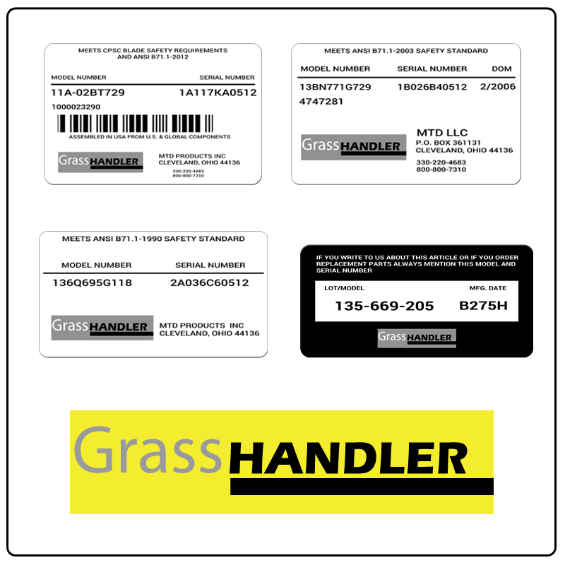 examples of what Grass Handler model tags usually look like and a large Grass Handler logo