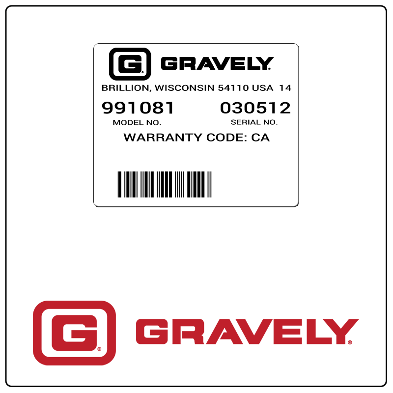 examples of what Gravely model tags usually look like and a large Gravely logo