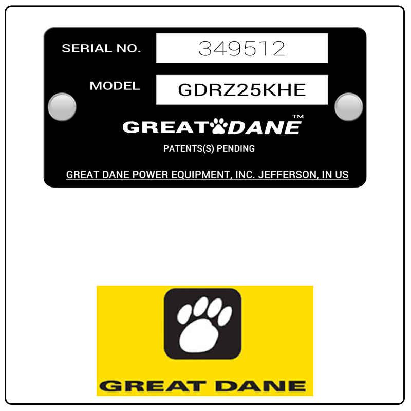 examples of what Great Dane model tags usually look like and a large Great Dane logo