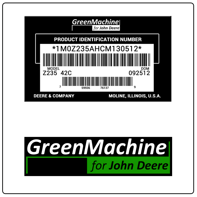 examples of what Green Machine model tags usually look like and a large Green Machine logo