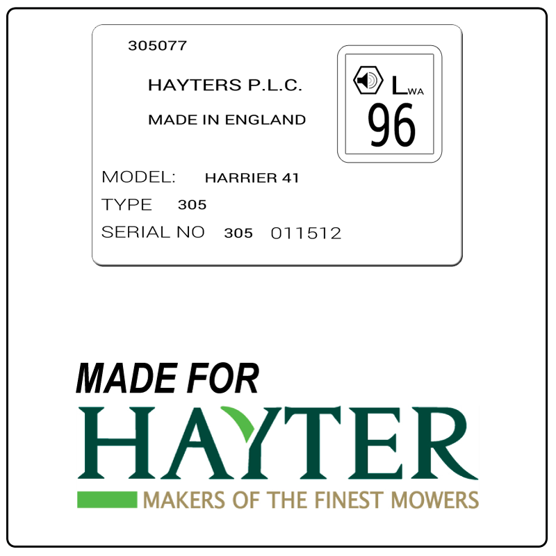 examples of what Hayter model tags usually look like and a large Hayter logo