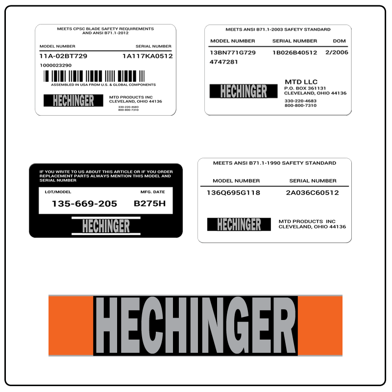 examples of what Hechinger model tags usually look like and a large Hechinger logo