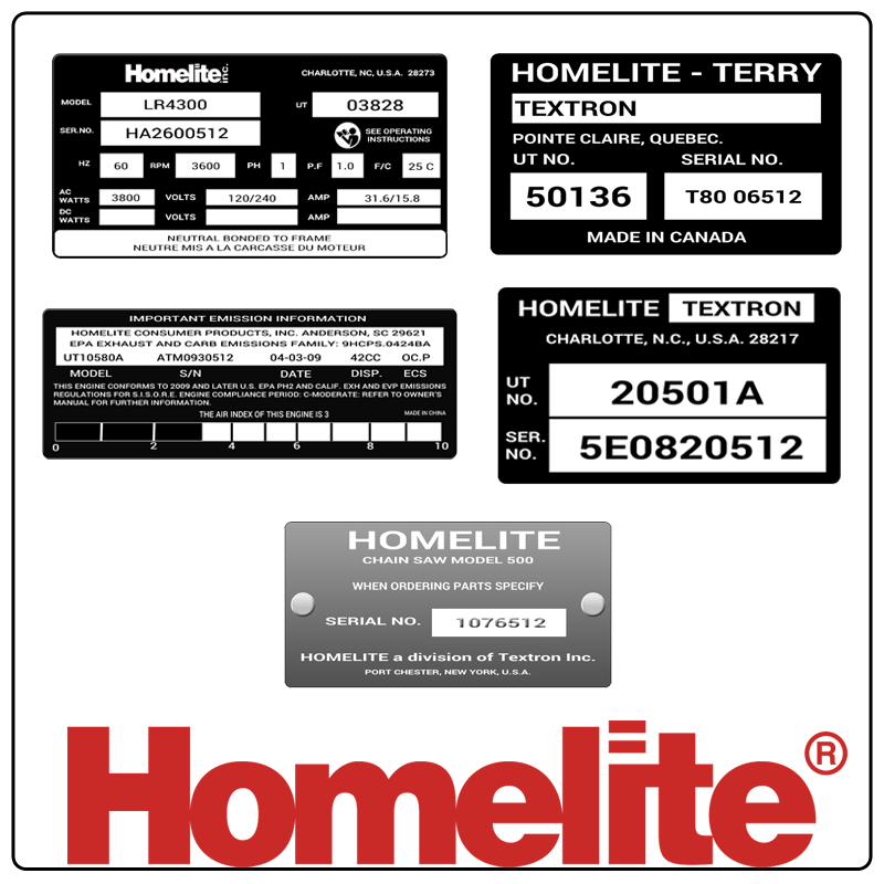 examples of what Homelite model tags usually look like and a large Homelite logo