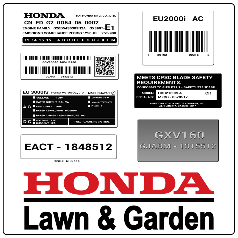 examples of what Honda model tags usually look like and a large Honda logo