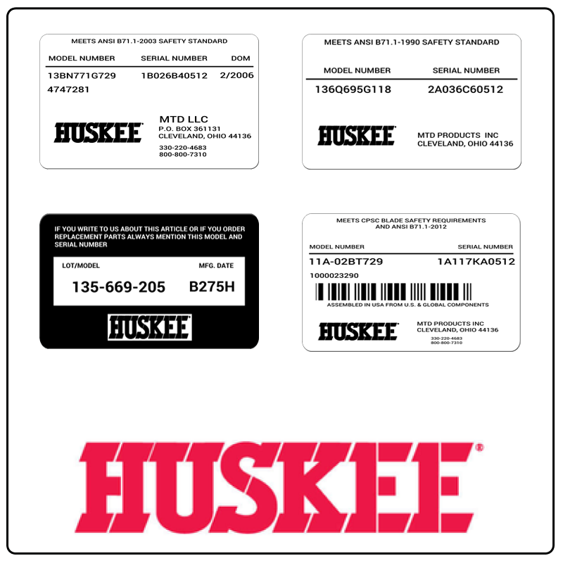 examples of what Huskee model tags usually look like and a large Huskee logo