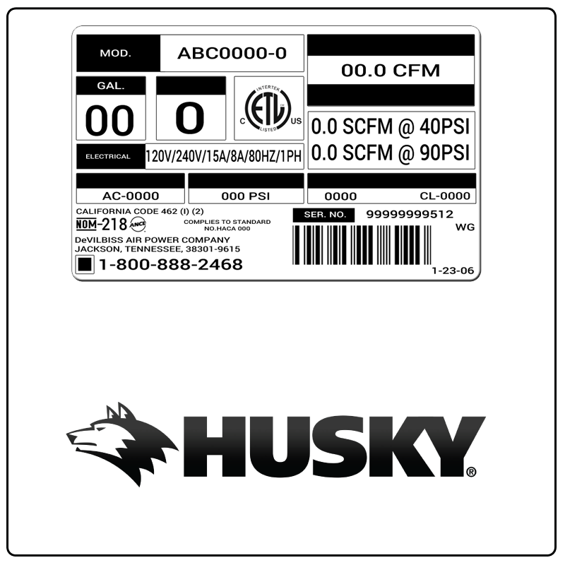 examples of what Husky model tags usually look like and a large Husky logo