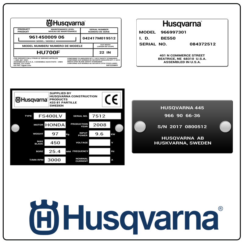 examples of what Husqvarna model tags usually look like and a large Husqvarna logo
