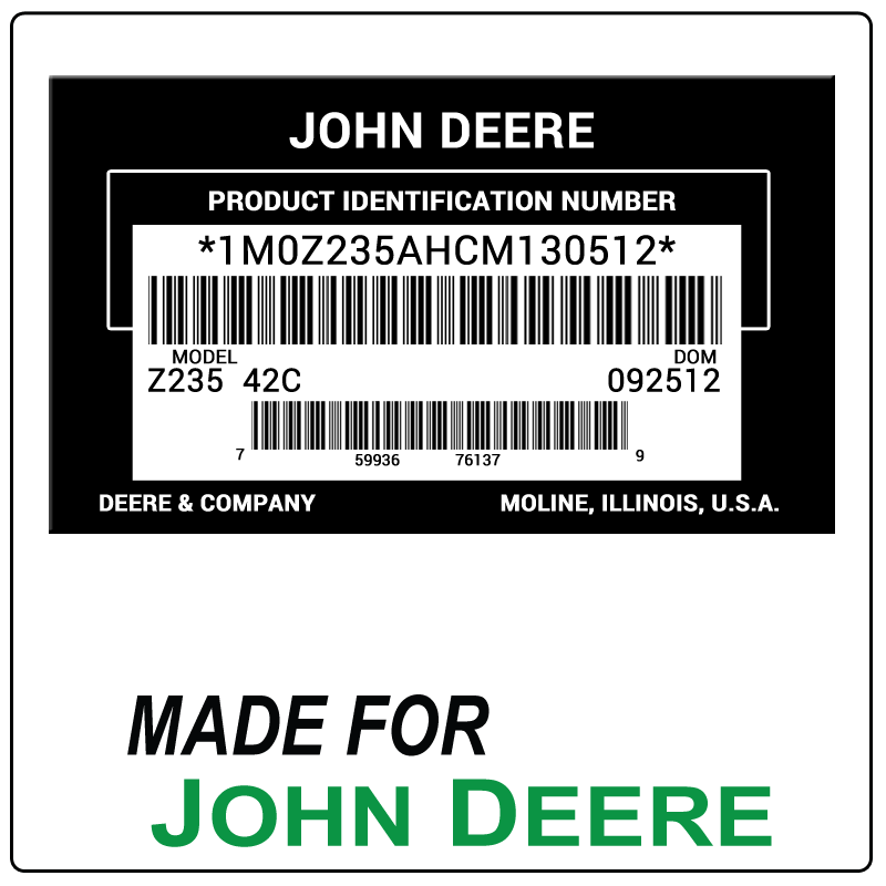 examples of what John Deere model tags usually look like and a large John Deere logo