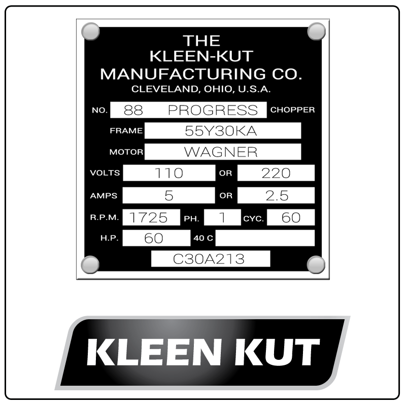 examples of what Kleen Kut model tags usually look like and a large Kleen Kut logo