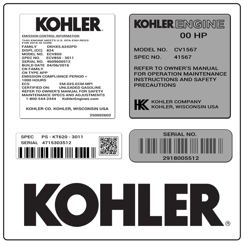 examples of what Kohler model tags usually look like and a large Kohler logo