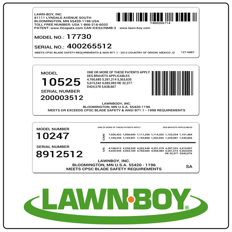examples of what Lawn-Boy model tags usually look like and a large Lawn-Boy logo