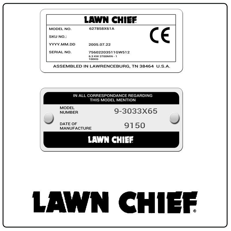 examples of what Lawn Chief model tags usually look like and a large Lawn Chief logo