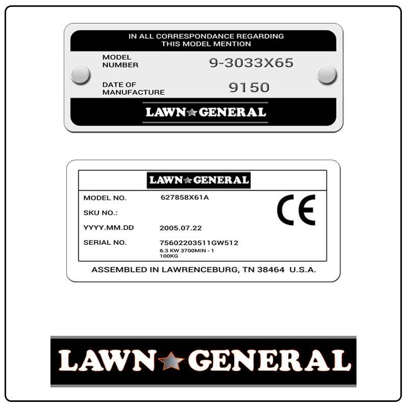 examples of what Lawn General model tags usually look like and a large Lawn General logo