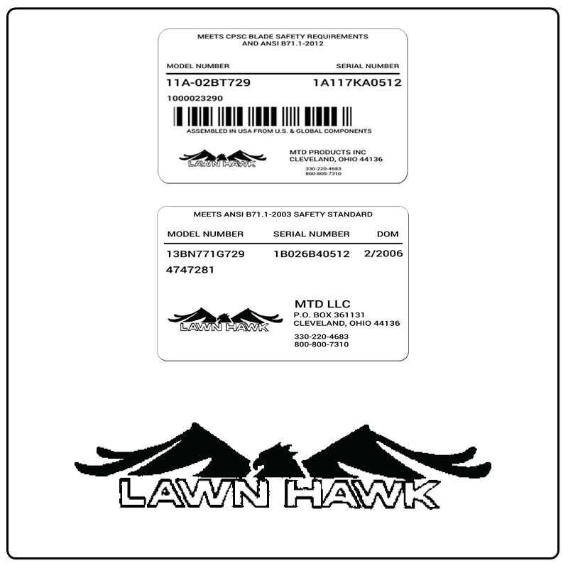 examples of what Lawn Hawk model tags usually look like and a large Lawn Hawk logo