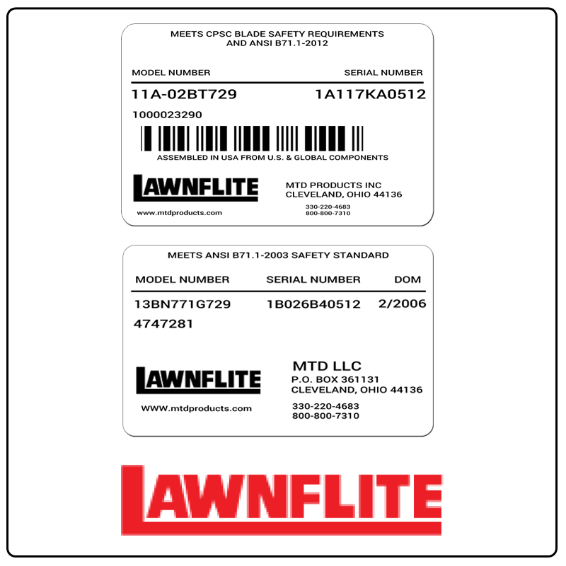 examples of what Lawnflite model tags usually look like and a large Lawnflite logo