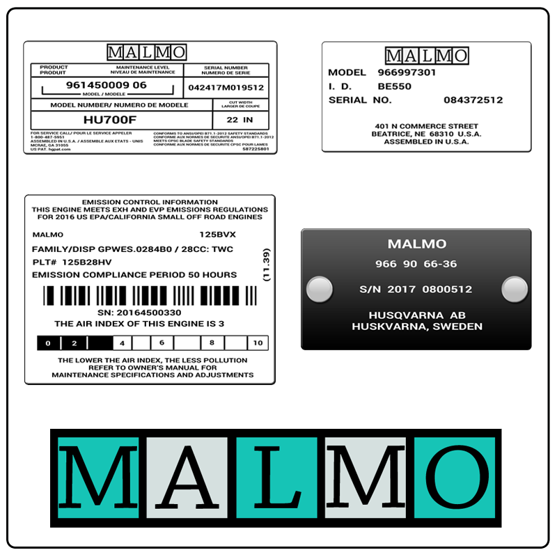 examples of what Malmo model tags usually look like and a large Malmo logo