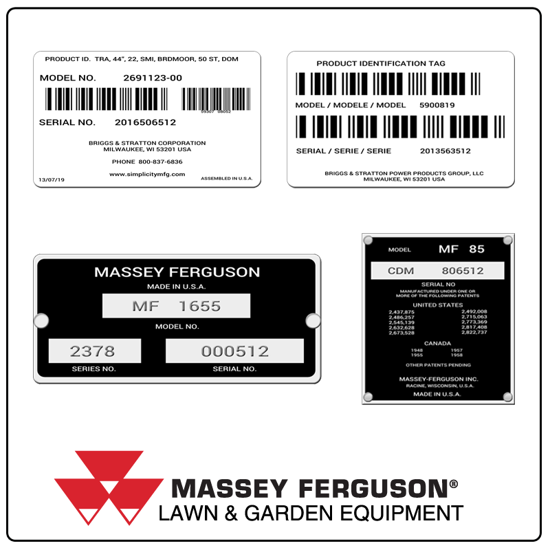 examples of what Massey Ferguson model tags usually look like and a large Massey Ferguson logo
