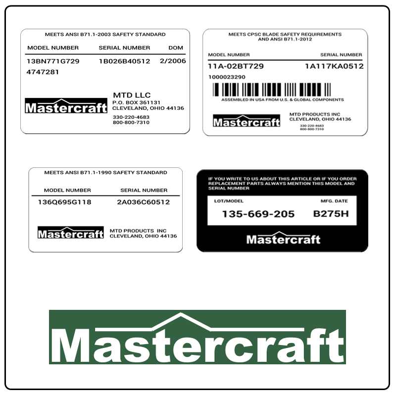 examples of what Mastercraft model tags usually look like and a large Mastercraft logo