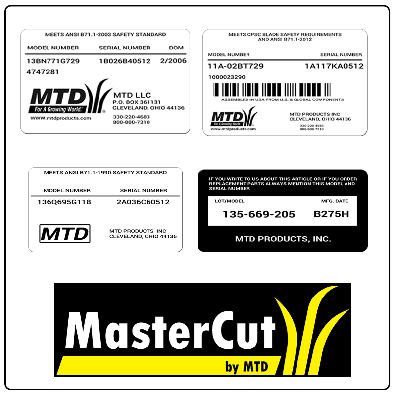 examples of what MasterCut by MTD model tags usually look like and a large MasterCut by MTD logo