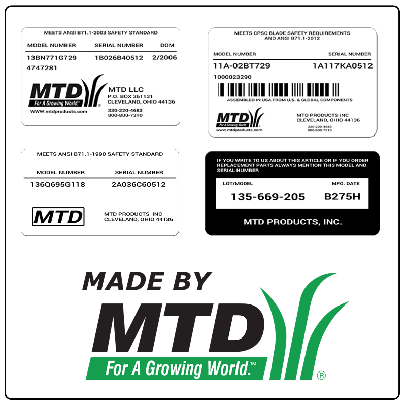examples of what MTD model tags usually look like and a large MTD logo