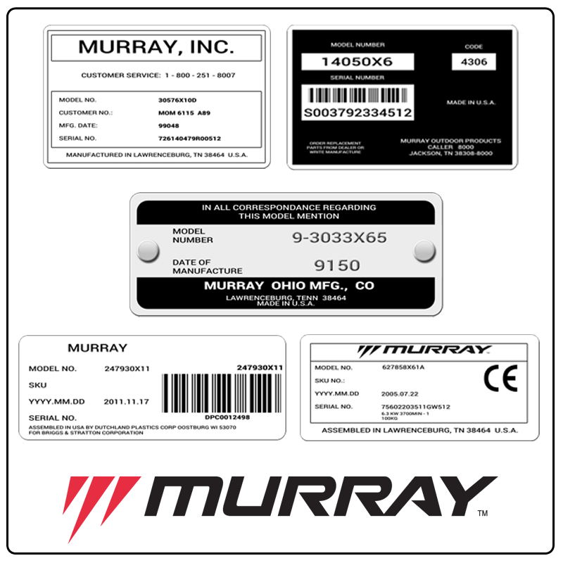 examples of what Murray model tags usually look like and a large Murray logo
