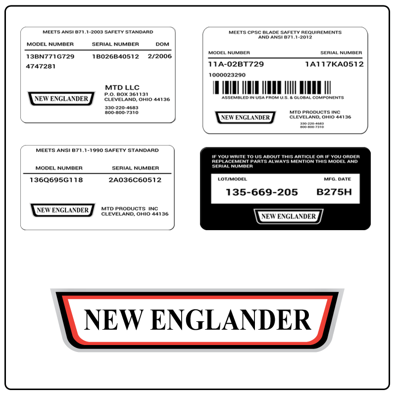 examples of what New Englander model tags usually look like and a large New Englander logo