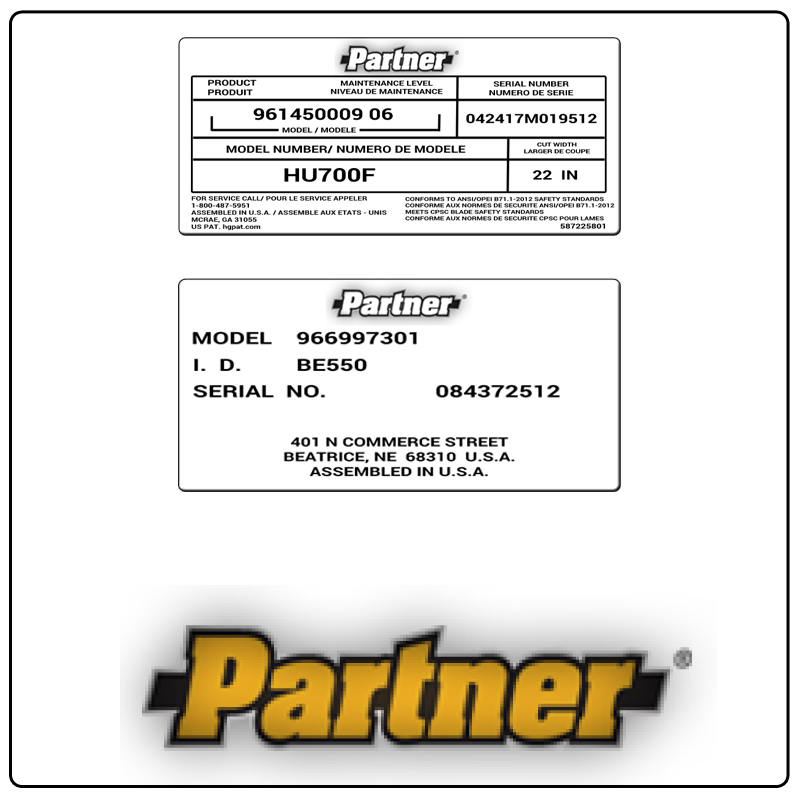 examples of what Partner model tags usually look like and a large Partner logo
