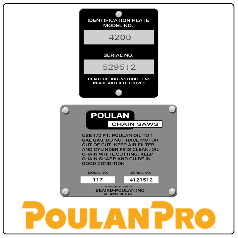 examples of what Poulan Pro model tags usually look like and a large Poulan Pro logo