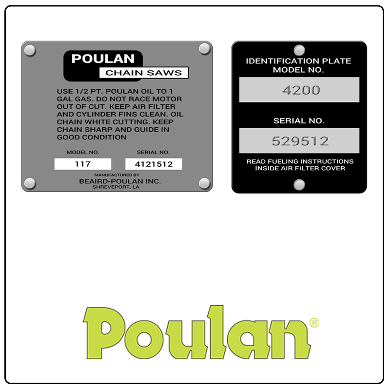 examples of what Poulan model tags usually look like and a large Poulan logo
