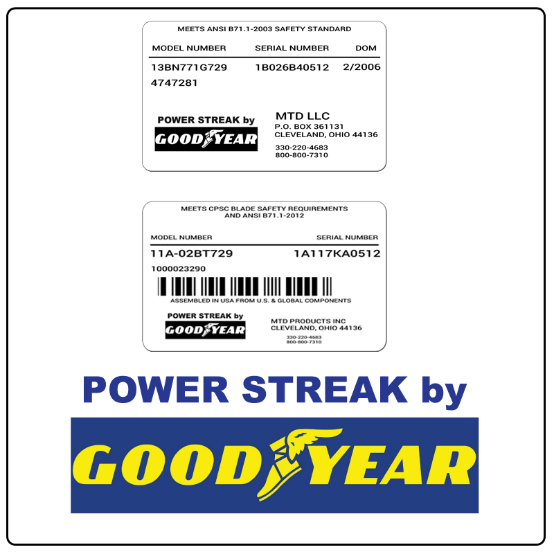 examples of what Power Streak model tags usually look like and a large Power Streak logo