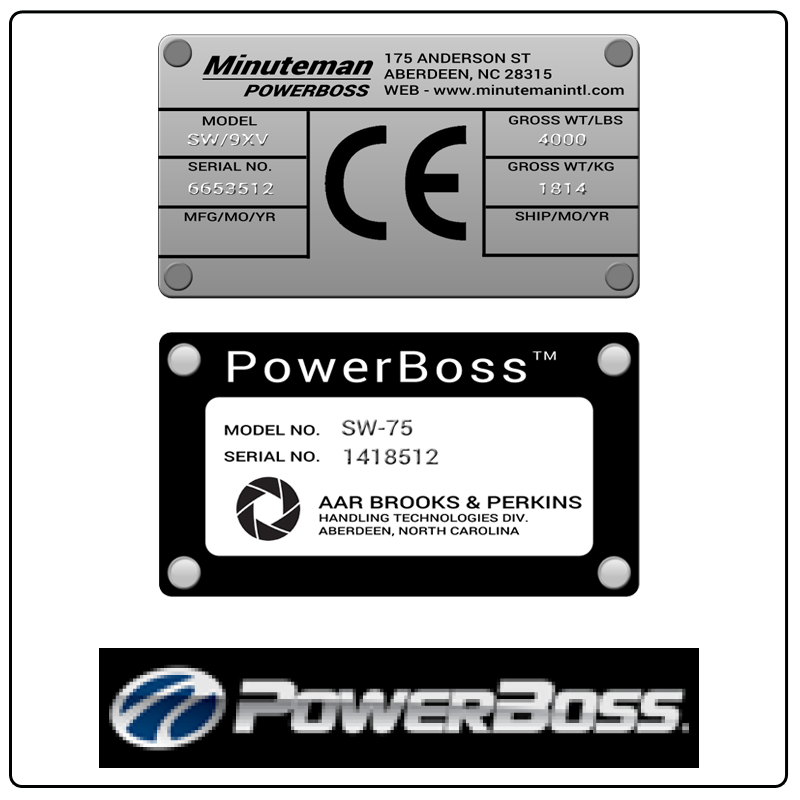 examples of what PowerBoss model tags usually look like and a large PowerBoss logo